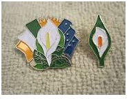 Easter Lily and an Easter lily brooch - badge